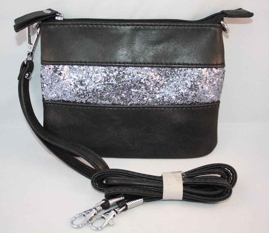 07f9dcf3178 Zwart glitter schoudertasje