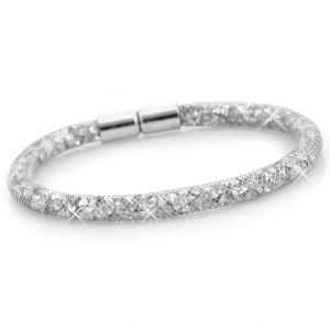 kristal facet armband - zilver