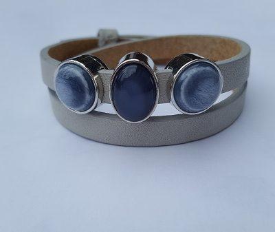 cuoio armband licht grijs - blauw