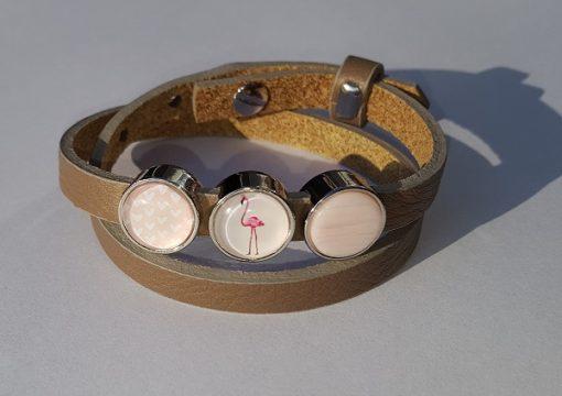 cuoio armband taupe - roze