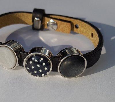 cuoio armband zwart - grijs