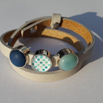 cuoio armband grijs - groen/blauw
