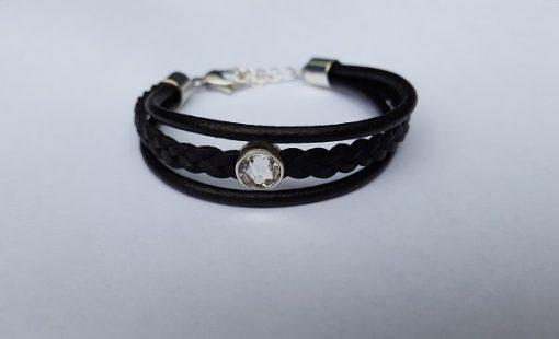 drie band armband zwart