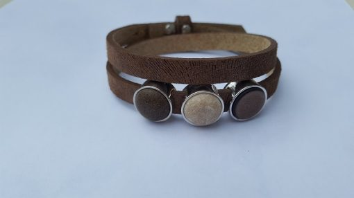 cuoio armband bruin met print