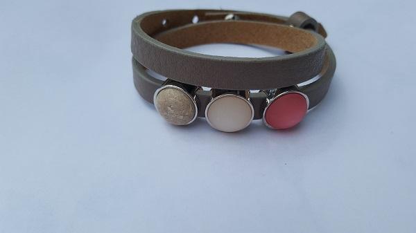 cuoio armband bruin-roze 2