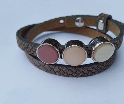 Cuoio armband bruin-roze