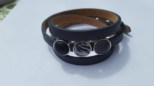 cuoio armband donker grijs - zwart