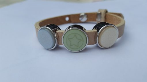 cuoio armband off white - blauw/groen