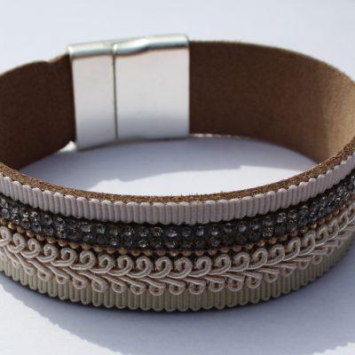 Roze/bruine armband