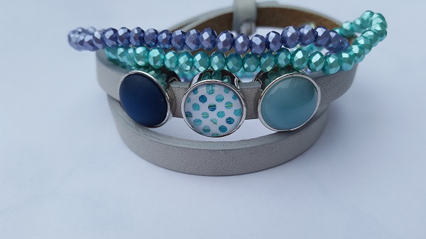 setje armbanden grijs-blauw-groen