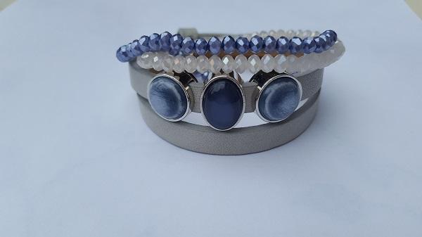 setje armbanden grijs-blauw