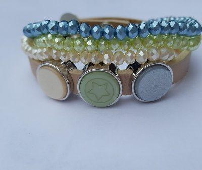 setje armbanden off white - blauw/groen