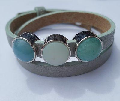 cuoio armband grijs blauw