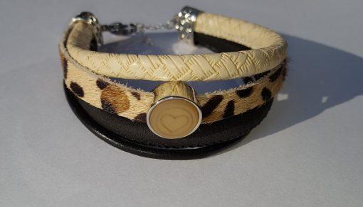 Armband creme - zwart