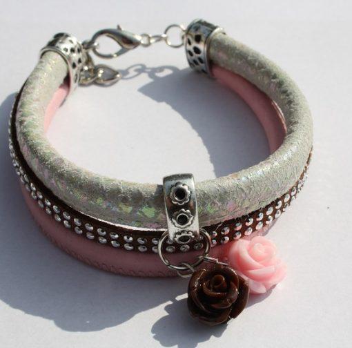 bedelarmband bruin-roze