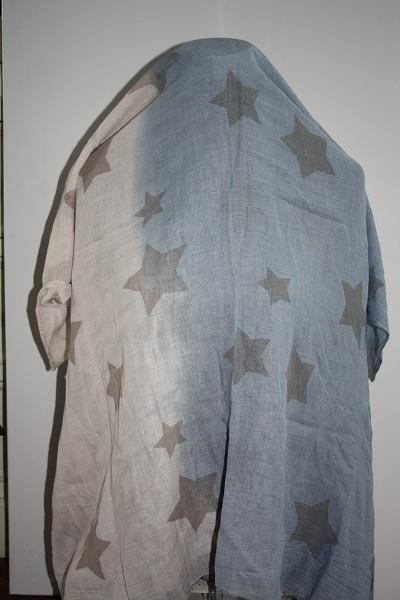 Blauw-beige sterren sjaal 2
