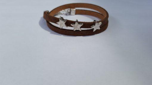 bruine wikkelarmband sterren