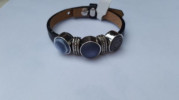 cuoio armband enkel blauw