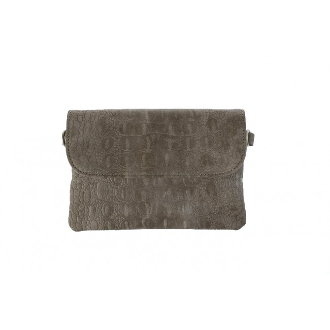 clutch croco taupe