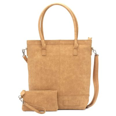 Zebra natural bag met rits camel