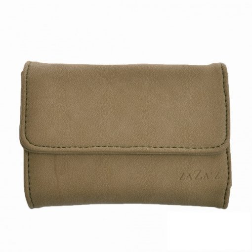 Klein taupe kleurige portemonnee met klep
