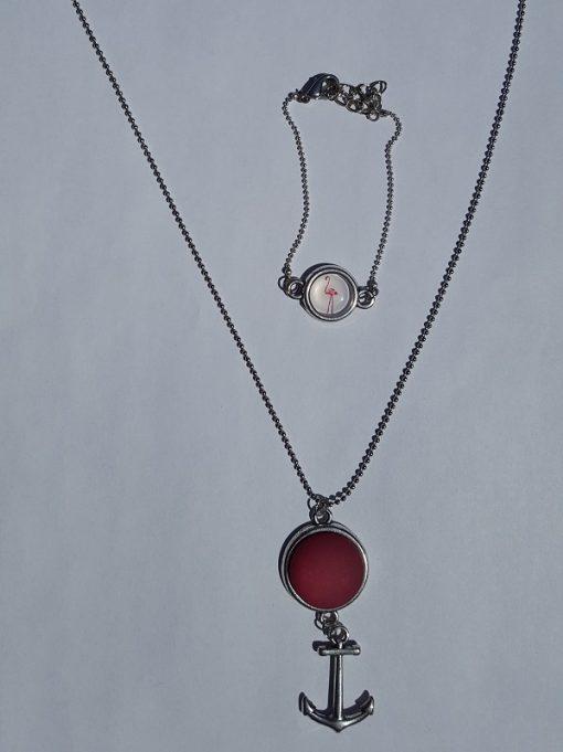 Anker ketting met bijpassende armband rood