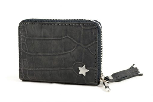 Kleine zwarte croco portemonnee met sterretje