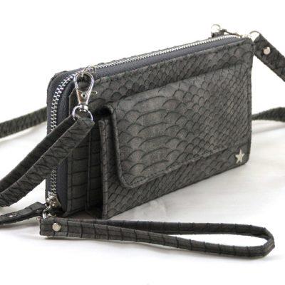 grijs snake portemonnee met voorvak