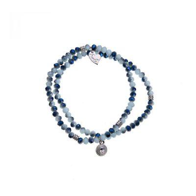 twee blauwe kralen armbandjes