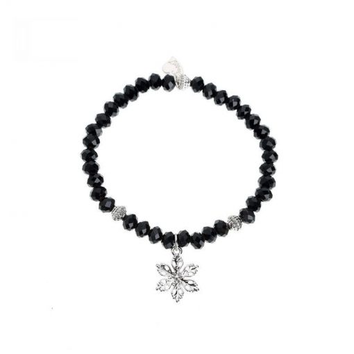 Zwart kralen armbandje met bloem