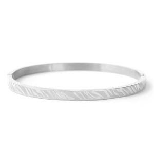 Armband zebra print zilver