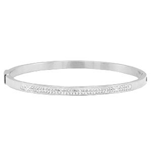 Zilverkleurige armband met strass steentjes