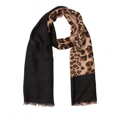Sjaal khaki - zwart