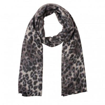 Sjaal leopard grijs