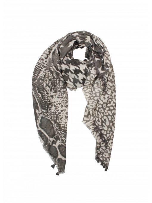 sjaal mix print grijs