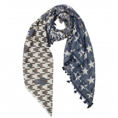 sjaal mix print blauw