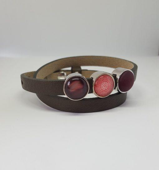 Cuoio armband groen-roze