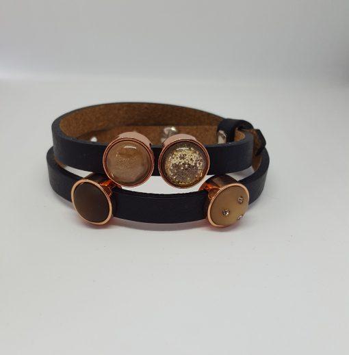 Cuoio armband zwart-roze