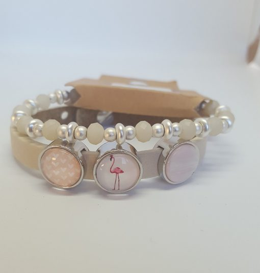 Cuoio armband + kralenarmband