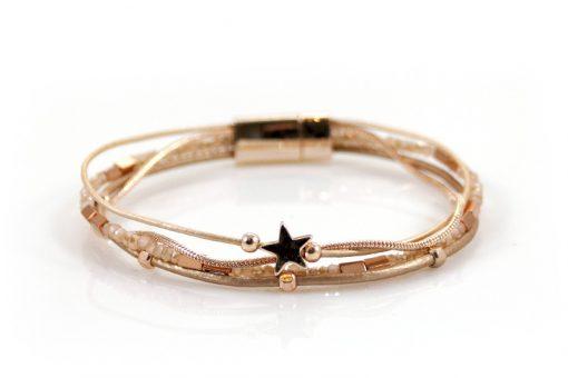 Sierlijke rose goudkleurige armband met kraaltjes